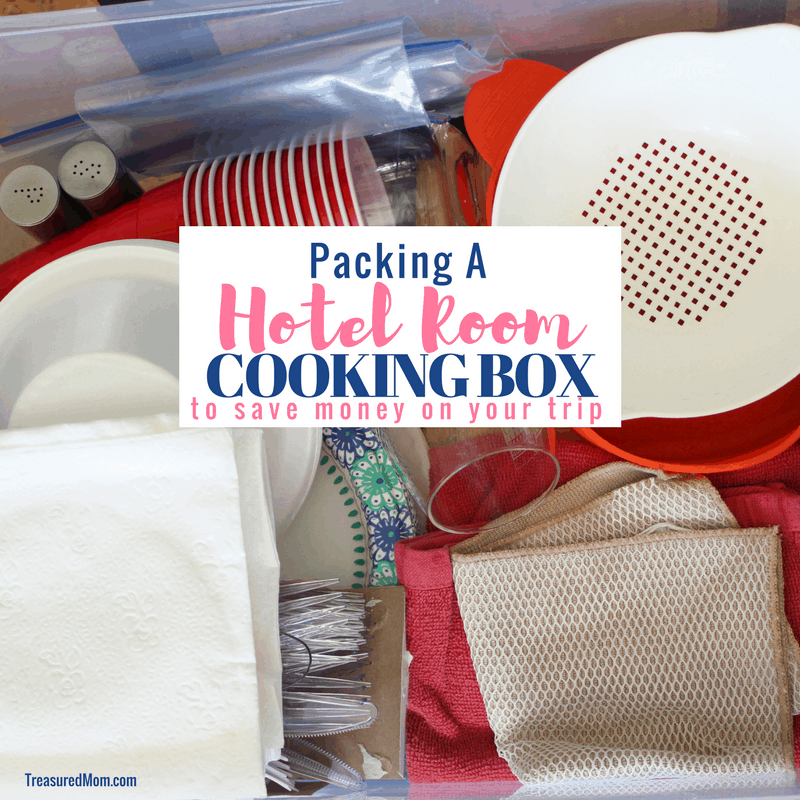 Hotel Room Cooking Box Supplies in a plastic tote