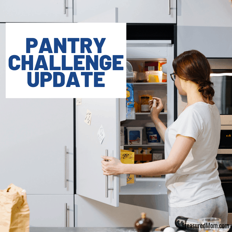 woman looking in fridge for no spend pantry challenge to save money