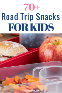 sandwich, apple, berries, goldfish crackers, in travel containers for road trip snacks for kids post