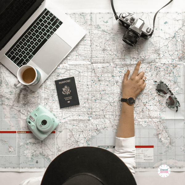map, computer, camera, passport for Over 100 Ways to Save Money