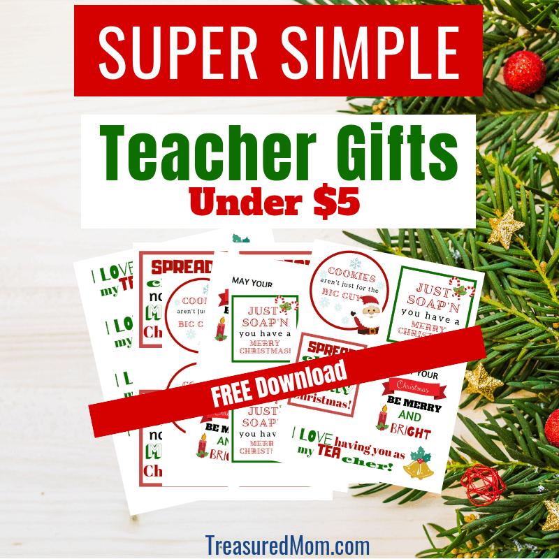 Teacher Christmas Gifts.Super Simple Teacher Christmas Gifts Under 5 Treasured Mom