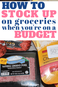 discounted meat and title for stock up on groceries to save money plus free printable