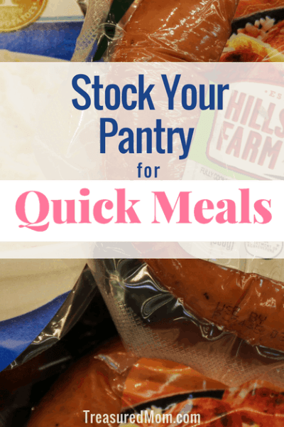 Kielbasa and Mashed potatoes with text for stock your pantry for quick meals