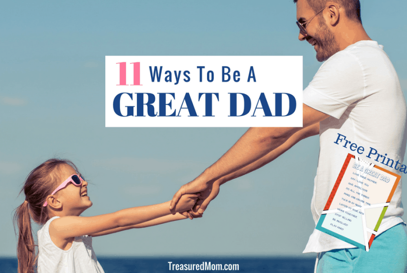 Father and daughter swinging for 11 Ways to Be a Great Dad text