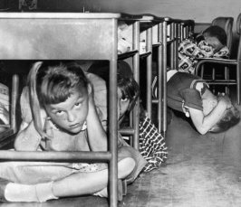 School children hide under desks in the 60's