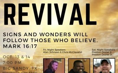 Tent Revival in Big Sandy – Oct. 13 & 14