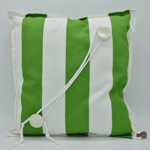grün-weiß-gestreiftes Kissen