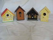 Artistic Designs Birdhouses       Item #s: LEFT TO RIGHT:  AD2A: $15.00     AD1A: $15.00     AD2C: $20.00     AD1E: $20.00