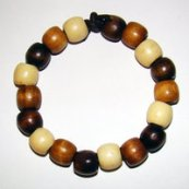 Bracelet     Size  Medium/Adult Female   3.25 in  Made with Leather Cord and 18 Wood Beads Price: $5.00