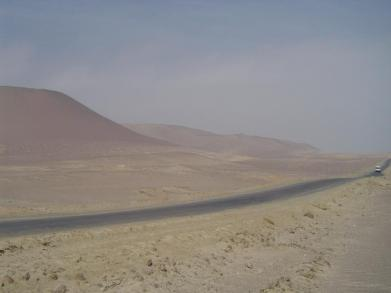 One of the main roads of the Paracas National Reserve cutting through the desert in Peru!