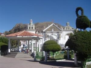 Basilica de Nuestra Señora de Copacabana seen from Plaza 2 de Febrero.