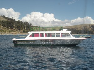 One of the tour boats that will take passengers from Copacabana to Isla del Sol.