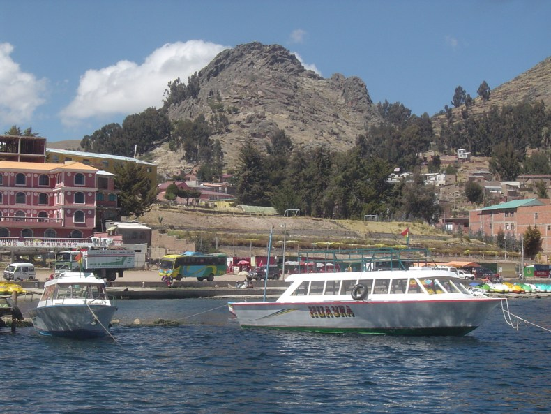 A view of Copacabana from Lake Titicaca.