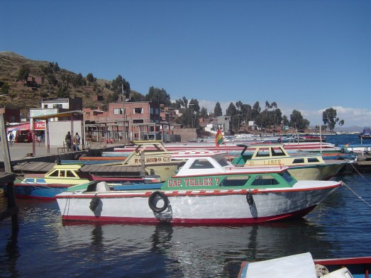 A view of Copacabana from Lake Titicaca. These are just some of the tour boats that will take passengers from Copacabana to Isla del Sol.