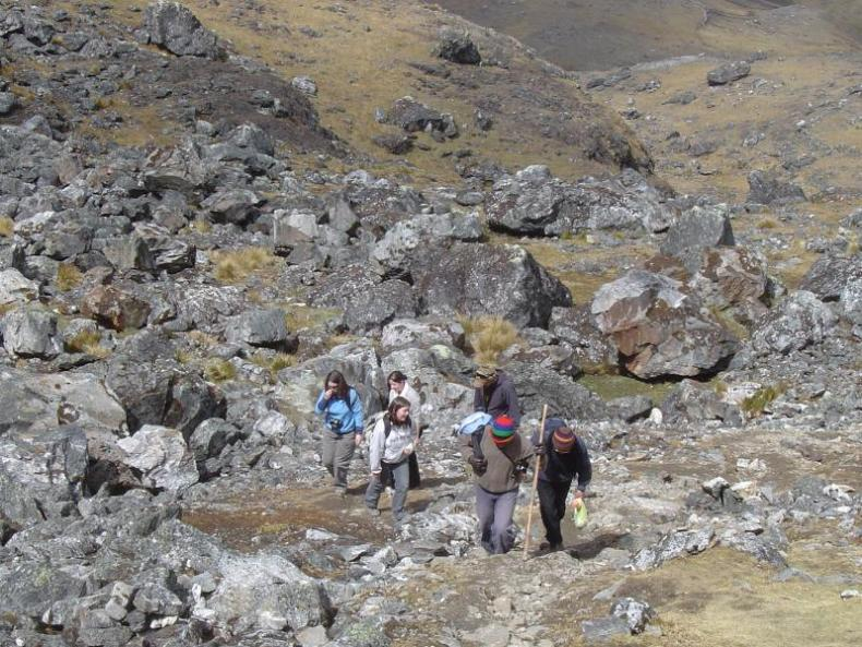 Climbing up some of the Huaytapallana mountain range which lies in the Junín Region in the Andes of Peru close to the city of Huancayo.