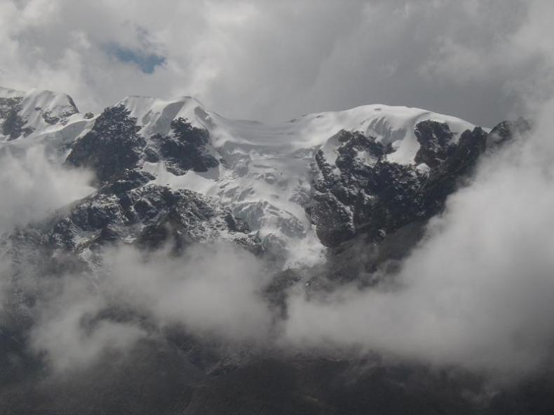 One of the beautiful views of snow capped mountains of the Huaytapallana mountain range which is located in the Junín Region of the Andes Central Highlands of Peru close to the city of Huancayo.