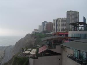 Larcomar, a multilevel shopping, food and entertainment complex that is actually built into the cliffs of the Miraflores boardwalk, above the Pacific Coast.