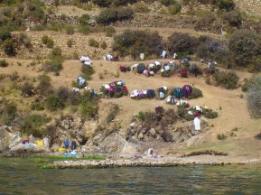 Laundry drying out in the sun of Isla del Sol.