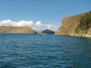 A view of Isla del Sol and Lake Titicaca.