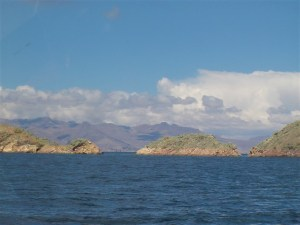 A view of a small island from Isla del Sol.