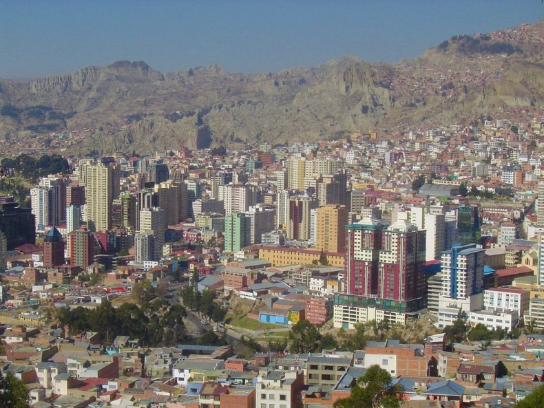 The beautiful view of the city from the ridge, looking into the valley of La Paz.