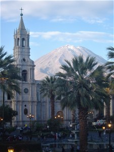 The Cathedral of Arequipa with the Volcano El Misti in the background.
