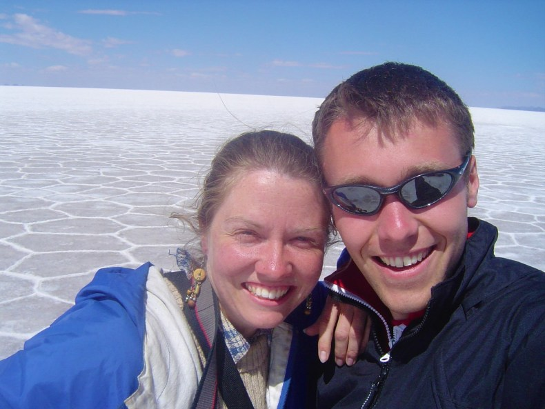 Joni and I taking a selfie at Salar de Uyuni, the largest salt flats in the world!