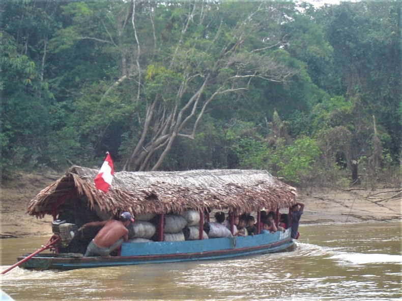 Transportation along one of the Amazon River tributaries to a local jungle lodge.