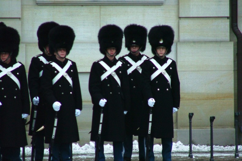 The changing of the Danish Royal Guards takes place at 12:00 pm every day at Amalienborg Palace in Copenhagen.