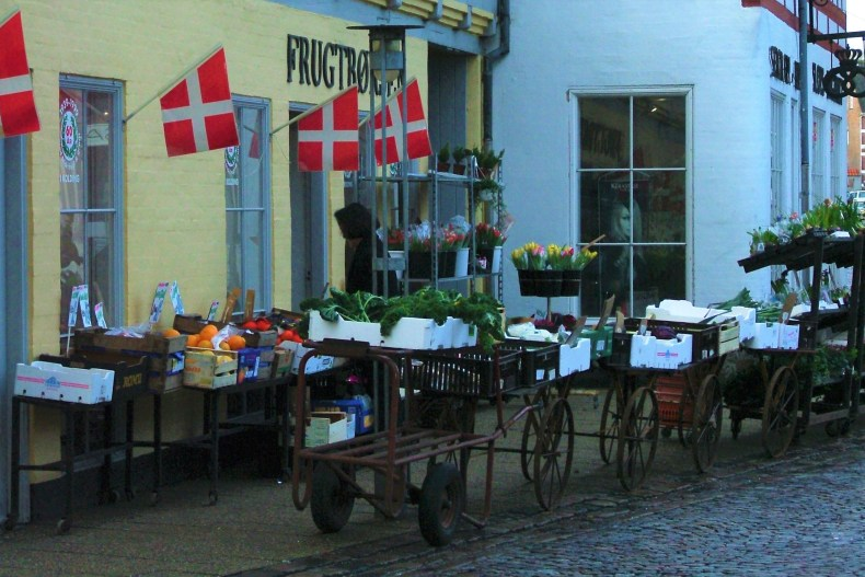 A street farmers market in Kolding, Denmark.