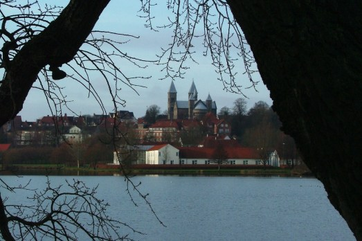 Looking over Søndersø Lake to the city of Viborg, Denmark.