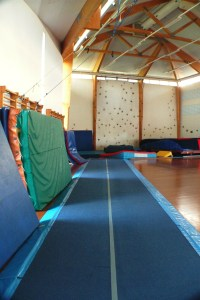 Some of the tumbling mats at the Viborg Gymnastics and Sports Academy.
