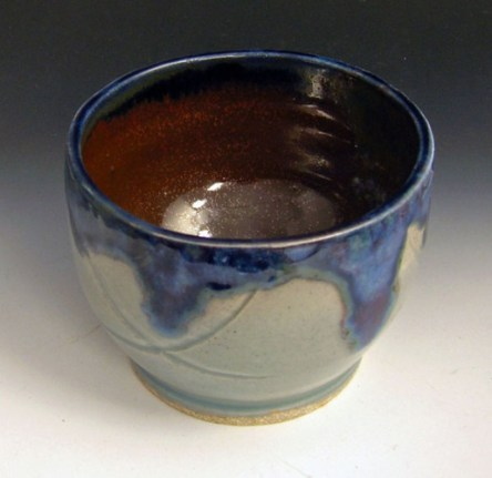 Small vessel. Thrown Stoneware. Glazed with vitreous enamel over glaze, cone 10 reduction fired.