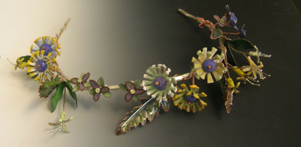 For the Sylvan Beauty Queen. Vitreous enamel over hand-formed copper, sterling, fine silver, peridots, garnets, blue topaz.