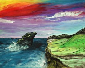 Ocean with sunset in acrylic by Cyndi Blue 8