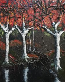 Autumn diptych right - 24x30 mixed media using cloth, enamel, and oil paint on canvas