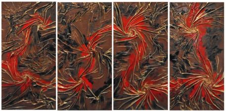 Red runs through it - mixed media using cloth, enamel, and liquid gold leaf on wood