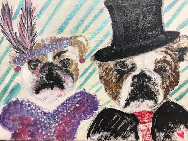 Big Daddy Dogs, acrylic and oil pastels on canvas