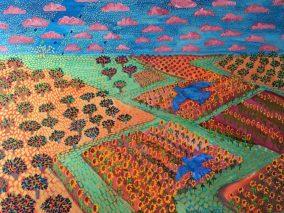 Garden Oil:Canvas with Gold Acrylic 36x48