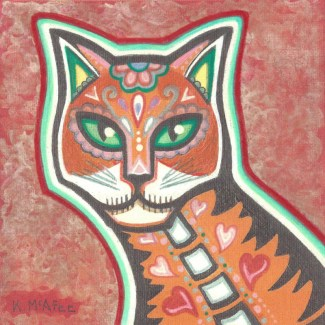"""""""Cats of Life and Death #1"""", Mixed Media on Canvas, 6"""" x 6"""""""