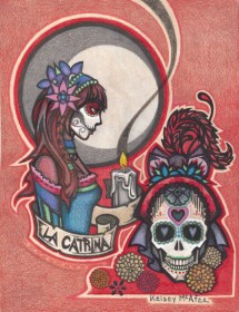 """""""La Catrina by the Light of the Moon"""", Mixed Media on Parchment , 8.5"""" x 11"""""""