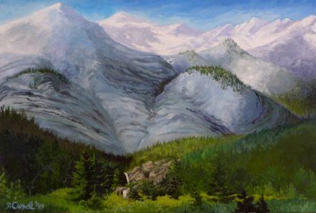 "Hurricane Creek Meadow. 26""x 38"", Oil on canvas"