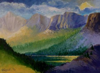 """Lake in the Sawtooths. 22""""x 30"""", Oil on canvas"""
