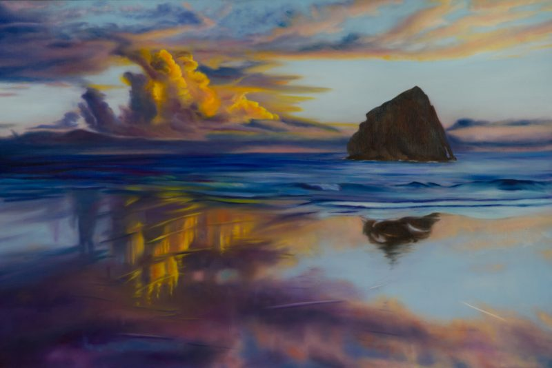 Reflections: Cape Kiwanda, oil on canvas