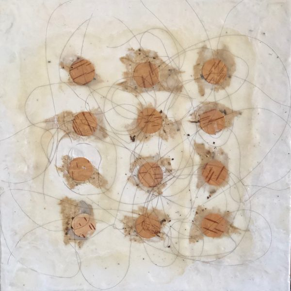 Wax, Wire and Wood, encaustic with copper wire and birch bark