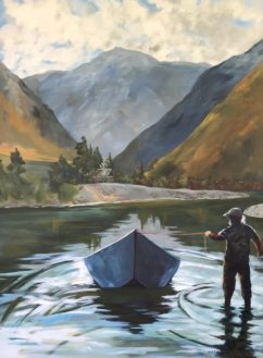 """Steelhead Season"", viscous acrylic, 48"" x 36"" x1 .5"""