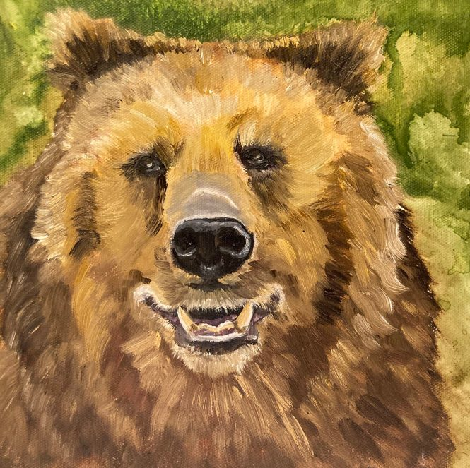 "Bear, oil on canvas, 10""x10"""