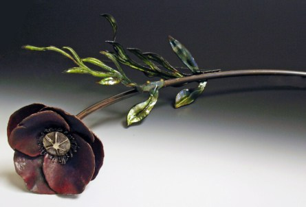 """"""" Botanically Correct: Poppy"""", vitreous enamel over hand-forged copper, repousee sterling, 14"""""""