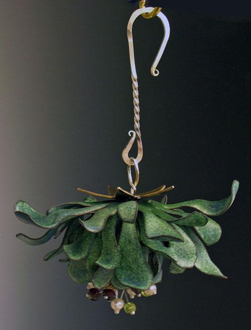 """""""Everlasting Mistletoe"""", vitreous enamel over hand-forged copper, hand-forged sterling hook. 3"""" diameter"""
