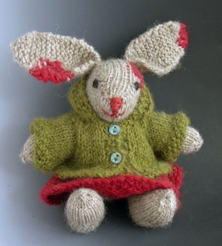 """Miz Bunny"" Knitted wool, vitreous enamel buttons, 6"" tall"